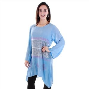Plus Size Unique Side Tail Tunic - Blue